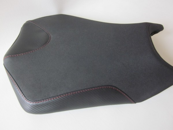 Aprilia Tuono (2011-2019) Seat cover upgrade. Red stitch and carbon inset- FRONT